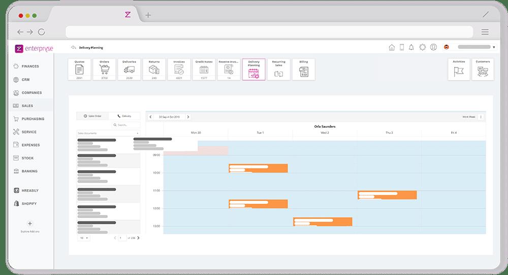 Enterpryze Delivery schedule module screenshot on browser app