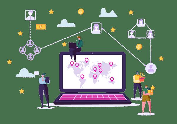Enterpryze Customer One location map on laptop screen
