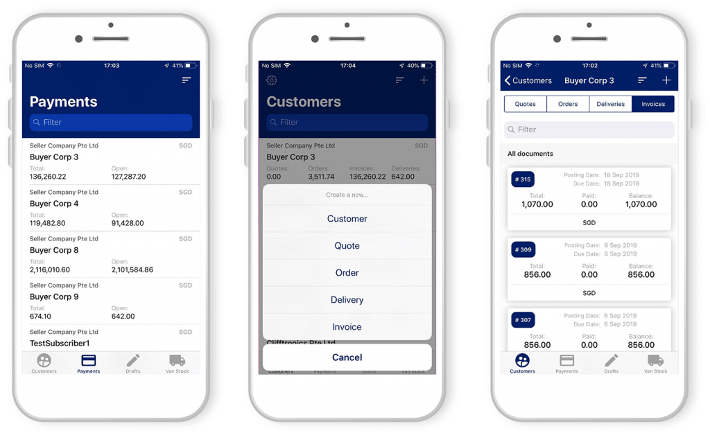 mobile collect app menu, invoice and payments schreenshots