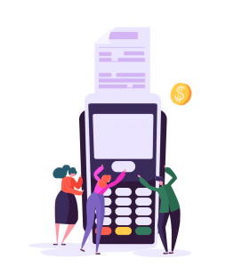 Enterpryze Sales characters clicking on payment machine
