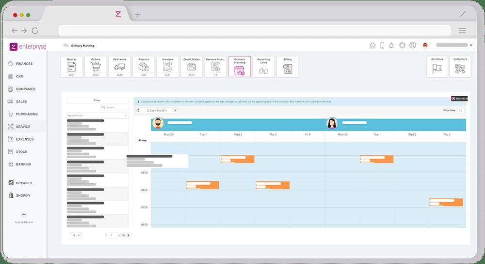 Enterpryze field service scheduling module on browser app