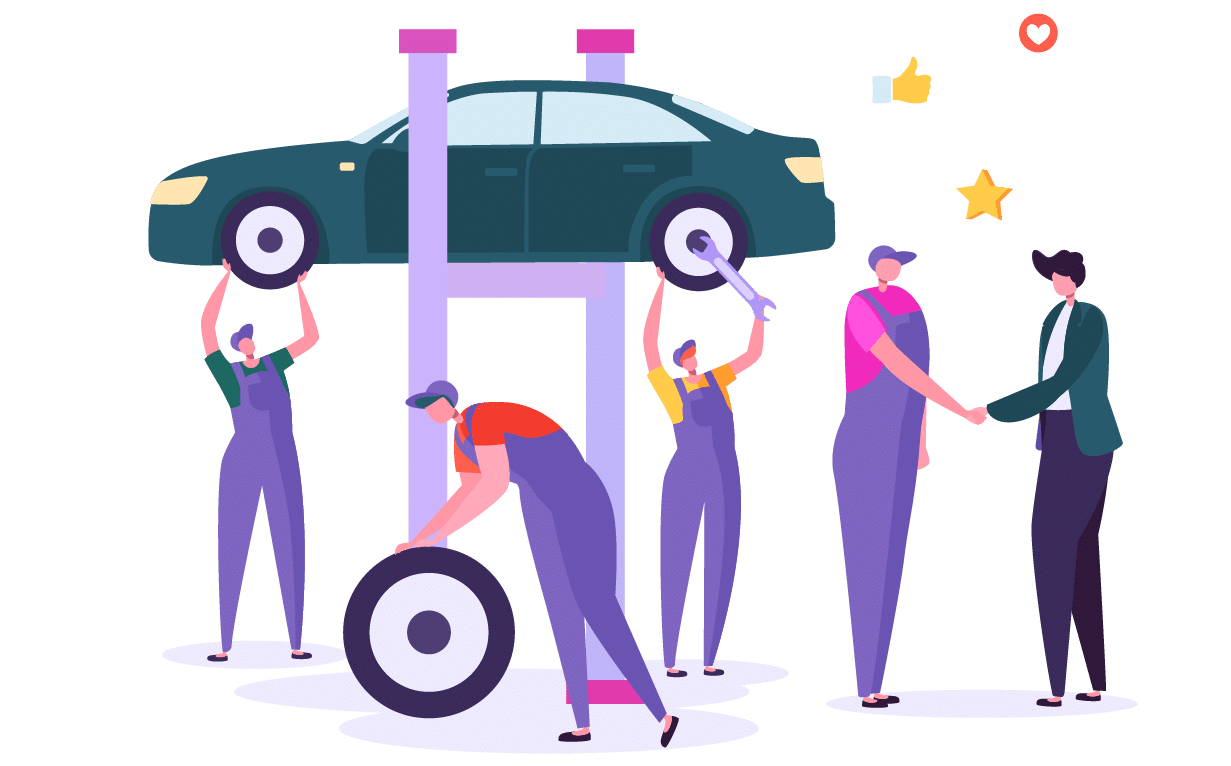 Enterpryze Field Service Management: characters servicing cars for client