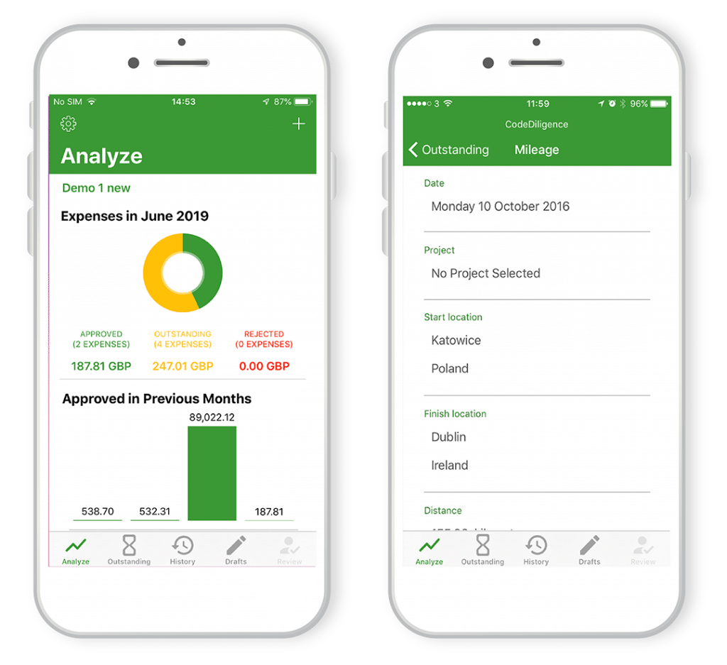 Enterpryze Expenses app screenshot of expenses overview and approval