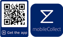 Qr code for downloading the mobilecollect app on Google play or App Store