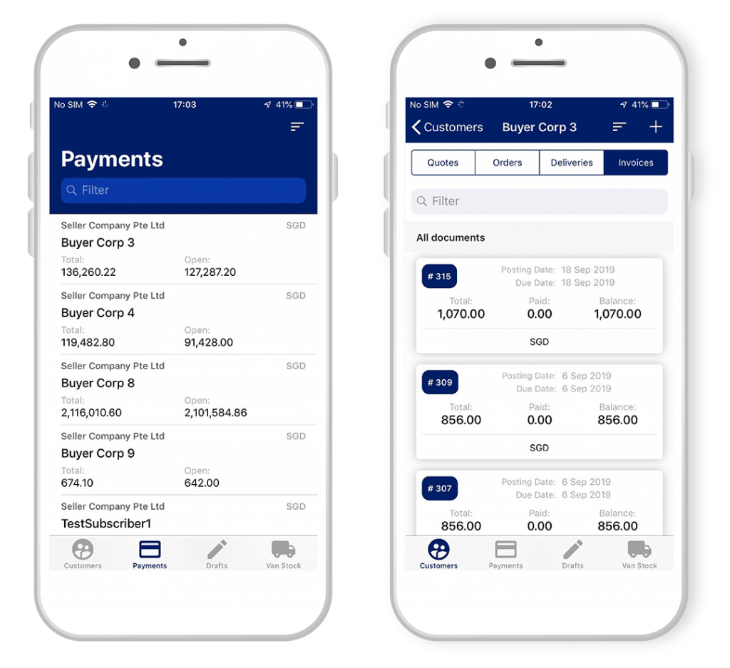 Enterpryze mobilecollect app screenshot of invoices and payments features