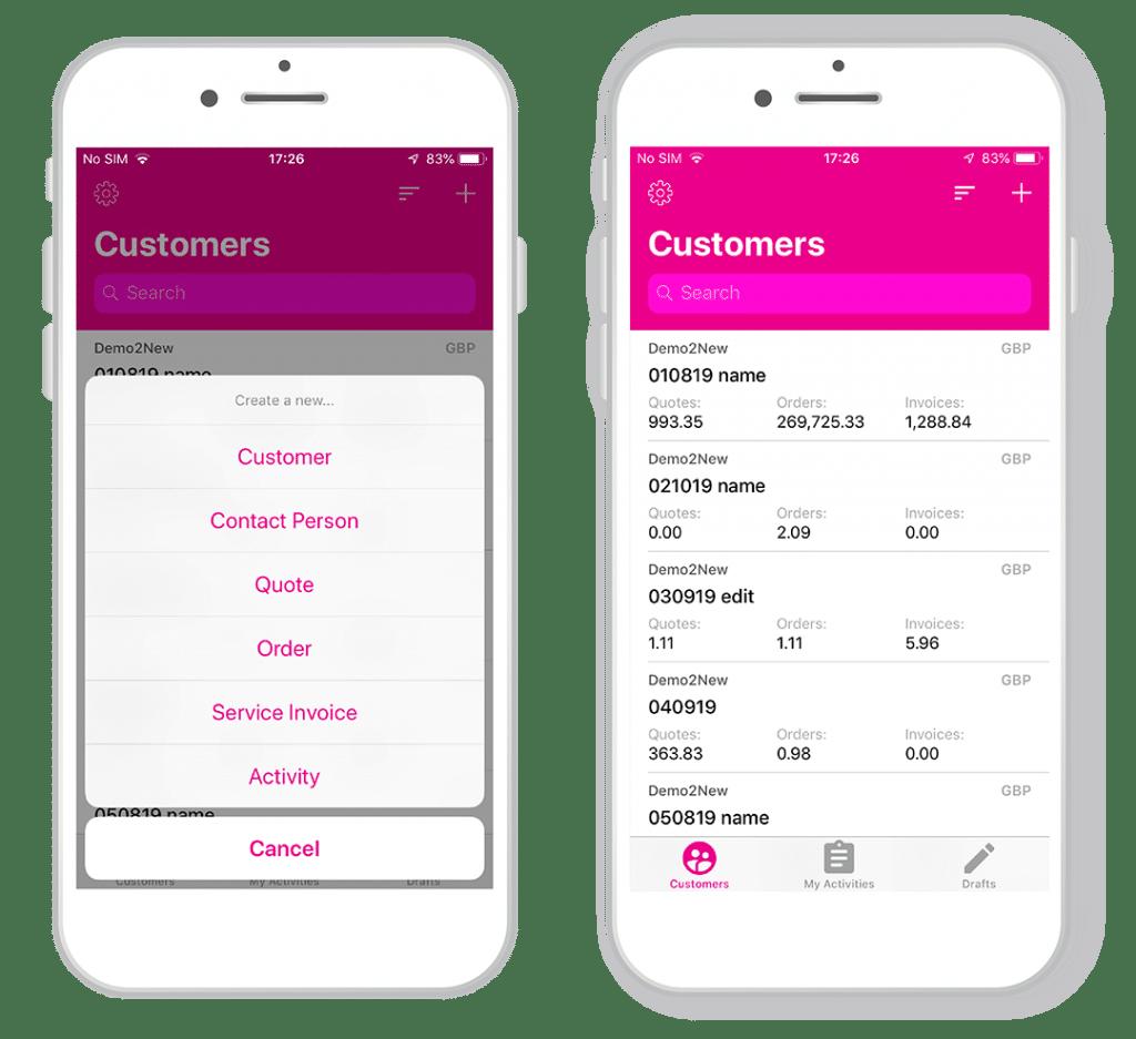 Enterpryze sales app screenshot of customers list