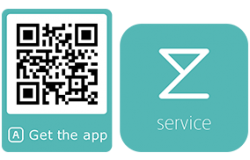 Qr code for downloading the service app on Google play or App Store